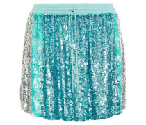 Woman Nora Sequined Chiffon Mini Skirt Turquoise