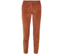 Cropped Stretch-cotton Corduroy Tapered Pants Brown