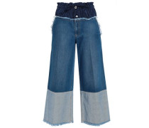 Pinstriped Satin-paneled High-rise Wide-leg Jeans Mid Denim