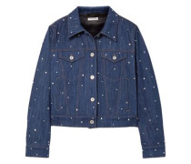 Crystal-embellished Denim Jacket Mid Denim