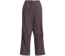Herringbone Wool-blend Wide-leg Pants Taupe