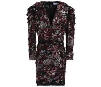 Wrap-effect embellished embroidered crepe mini dress
