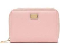 Textured-leather Wallet Pastel Pink Size --