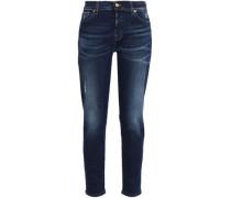 Distressed mid-rise slim-leg jeans