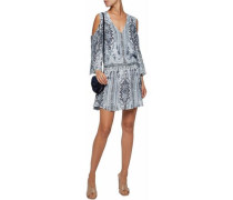 Cold-shouder printed crepe mini dress