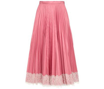 Woman Lace-trimmed Faille Midi Skirt Antique Rose
