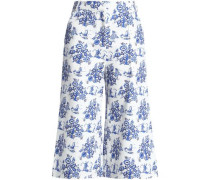 Cropped printed high-rise wide-leg jeans