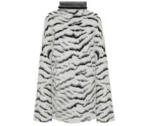 Oversized Zebra-jacquard Turtleneck Sweater White