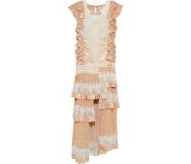 Folly Dizzy Tiered Lace-paneled Polka-dot Satin Midi Dress Pastel Orange Size 1