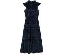 Ruffled lace-paneled broderie anglaise cotton midi dress