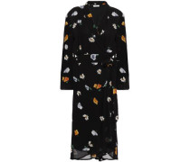 Dainty Floral-print Georgette Wrap Dress Black