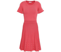Etor Pointelle-trimmed Pleated Stretch-knit Mini Dress Antique Rose