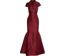 Layered flared silk-faille gown
