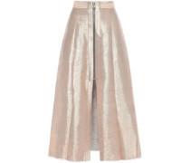 Frayed Lamé Midi Skirt Rose Gold
