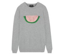 Natalie Sequin-embellished Cotton Sweater Light Gray