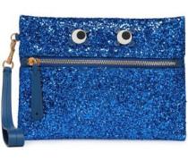 Appliquéd Glittered Pvc Clutch Bright Blue Size --