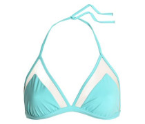 Mesh-trimmed triangle bikini top