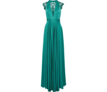 Brooke Embroidered Tulle-paneled Satin-jersey Gown Jade