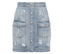 Woman Button-detailed Crystal-embellished Distressed Denim Mini Skirt Light Denim