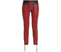 Mid-rise Skinny Leather Pants Red