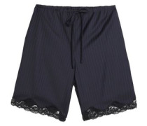 Lace-trimmed pinstriped wool shorts