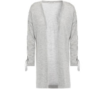 Lace-up Mélange Cashmere Cardigan Gray