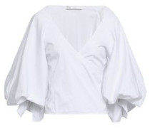Wrap-effect Stretch-cotton Poplin Top White