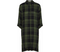 Paco Checked Flannel Shirt Dress Army Green