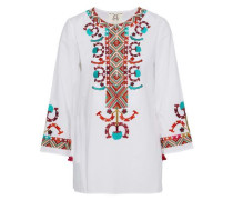 Embroidered cotton-poplin tunic