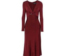 Cutout Embellished Satin-jersey Midi Dress Burgundy