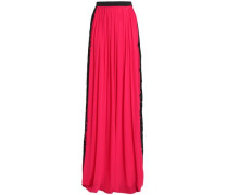 Lace-trimmed Silk-blend Crepe Maxi Skirt Bright Pink