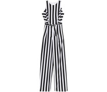 Ruffle-trimmed Striped Crepe Jumpsuit White Size 12