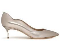 Scalloped Metallic-leather Pumps Silver