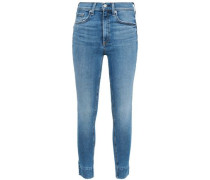Cropped Faded High-rise Skinny Jeans Mid Denim  7
