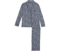 Leopard-print modal-blend jersey pajama set