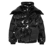 Oversized Layered Quilted Vinyl Jacket Black