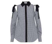Cold-shoulder gingham cotton-poplin shirt