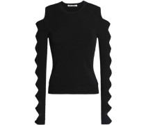 Cutout bow-detailed stretch-knit sweater