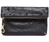 Sequined Leather Clutch Black Size --
