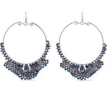 Silver-tone Beaded Hoop Earrings Silver Size --