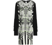 Pleated Paneled Printed Crepe Mini Dress Black