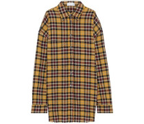 Frayed Checked Cotton-blend Flannel Shirt Yellow
