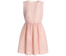 Flared flocked gauze mini dress