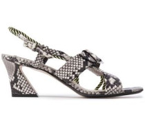 Woman Cord-trimmed Snake-effect Leather Sandals Animal Print