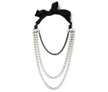 Silver-tone, faux pearl, crystal and grosgrain necklace