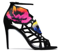 Suede and printed leather sandals