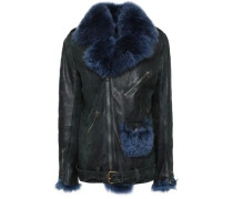 Shearling-trimmed Leather Biker Jacket Dark Green