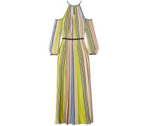 Cold-shoulder Striped Ribbed-knit Maxi Dress Chartreuse