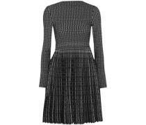 Pleated Wool-blend Jacquard Mini Dress Black