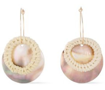 Gold-plated, Rattan And Shell Earrings Ecru Size --